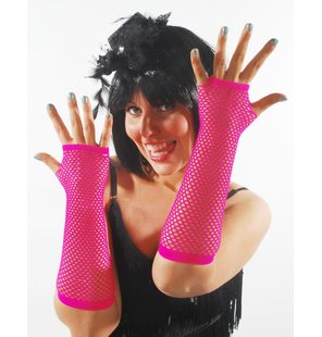 Fishnet gloves bright pink