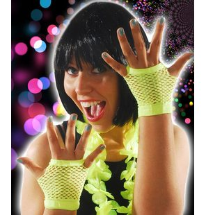 Fishnet gloves bright yellow