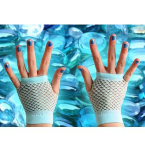 Fishnet gloves light blue