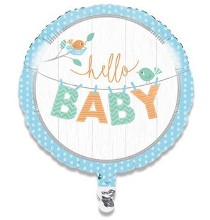 Folieballon hello baby boy (46cm)