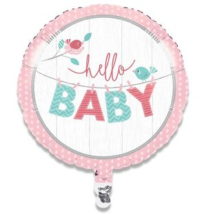 Folieballon hello baby girl geboorte