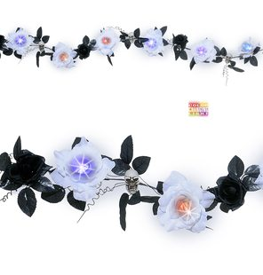 Garland with flowers and skulls halloween with light