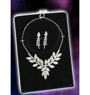 Glamour party set Leaves(oorbellen + ketting steentjes)