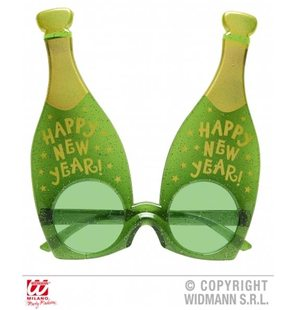 Glasses new year with champagne bottles