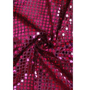 Glitter Fabric with large sequins 1.5M Fuchsia