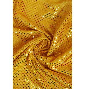 Glitter Fabric with small sequins 1.5M Geel