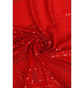 Glitter Fabric with small sequins 1.5M Rood