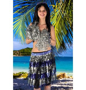 Glitter hawaii skirt blue