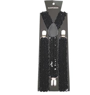 Glitter suspenders black