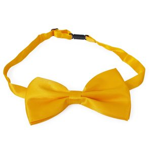 Gold yellow butterfly bow tie Satin