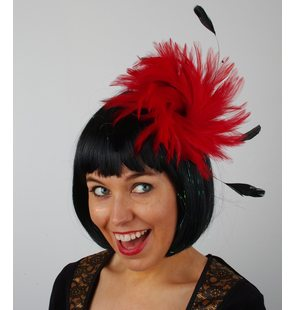 Hair piece with plumes red