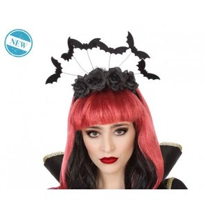 Halloween diadem with black roses and bats