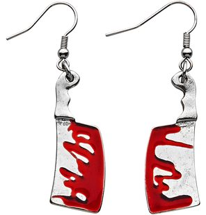 Halloween earrings with bloody cleaver
