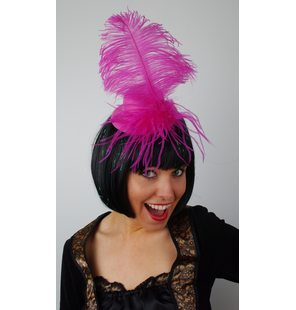 Hat with plume Fuchsia