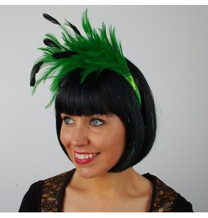 Headpiece with feathers green