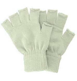 Knitted fingerless gloves beige