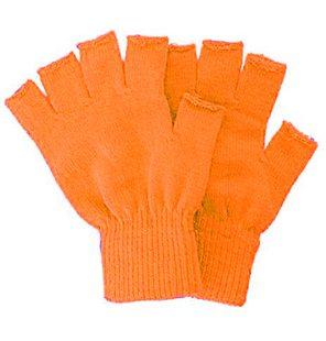 Knitted fingerless gloves orange