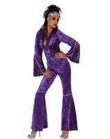 Dames disco jumpsuit in paars velours AT-10516/10517/10519