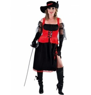Ladies pirat musketeer costume black with red waistcoat