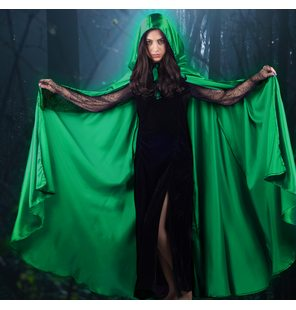 Long Cape satin Green