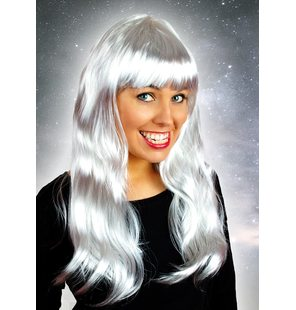 Long wig with fringe silver