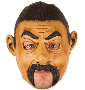 Mask with mustache and open mouth
