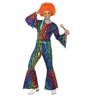 Multicolor disco jumpsuit voor mannen