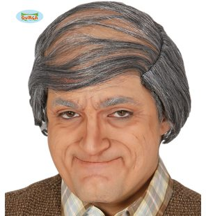 Old man with combed over hair wig grey