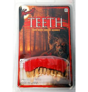 Plastic false teeth werewolf
