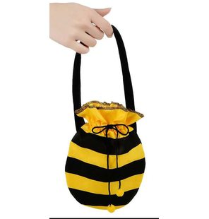 Pouch handbag with bee print