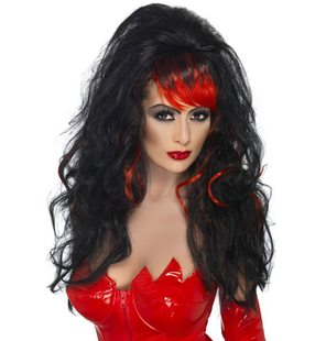 Seductress wig black with red fringe