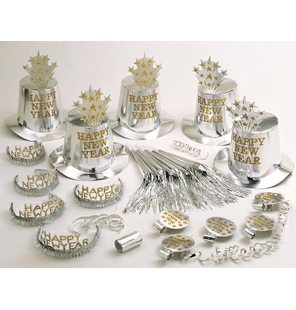 Silver Happy New Year Party Kit
