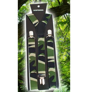 Suspenders with army / camouflage print