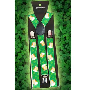 Suspenders with beer and clover print
