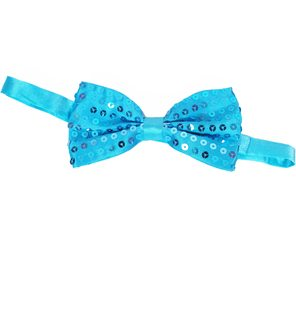 Turquoise glitter bow tie