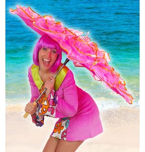 Umbrella with fringes luxury hot pink