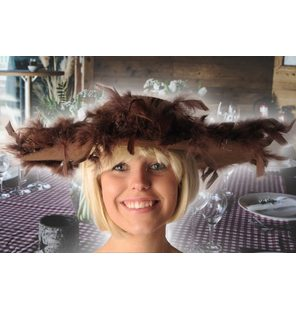 Viola Brown ladies hat with feather