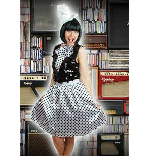 White retro skirt with black polka dots and scarf