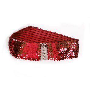 Wide waist belt with red sequins