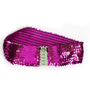 Wide waist belt with sequins bright pink