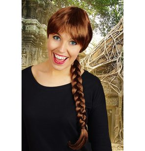 Wig with long braid brown