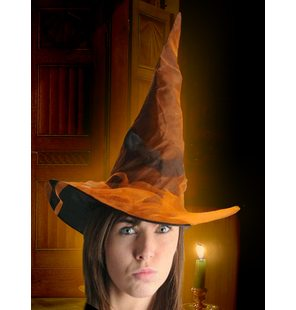 Witch hat with orange tulle