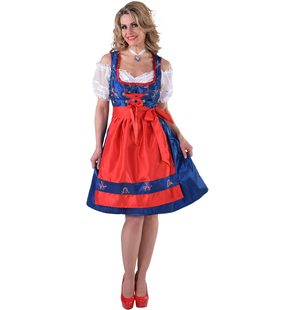 luxury blue dirndl with red